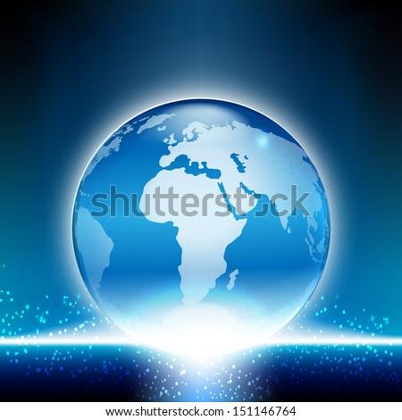 Shiny globe on blue background. - stock vector