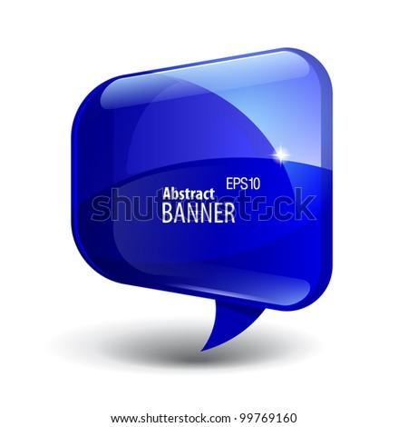 Shiny gloss blue banner - stock vector