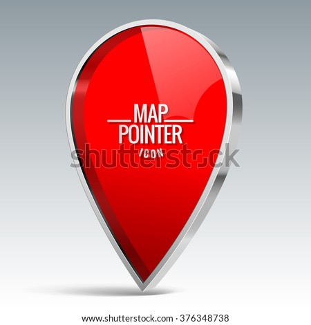 Shiny gloss red Map pointer icon. Vector illustration - stock vector
