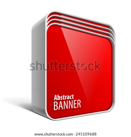 Shiny gloss red vector banner in the form of a square box with rounded corners eps 10 - stock vector