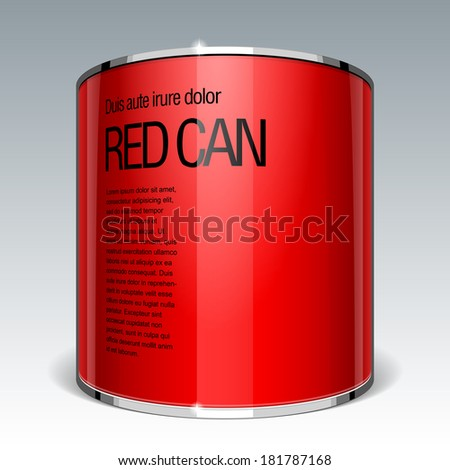 Shiny gloss red vector can. Ring shape. eps 10 - stock vector