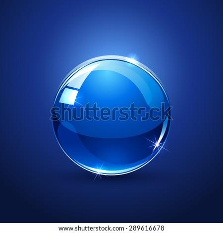Shiny glossy ball on blue background, illustration. - stock vector