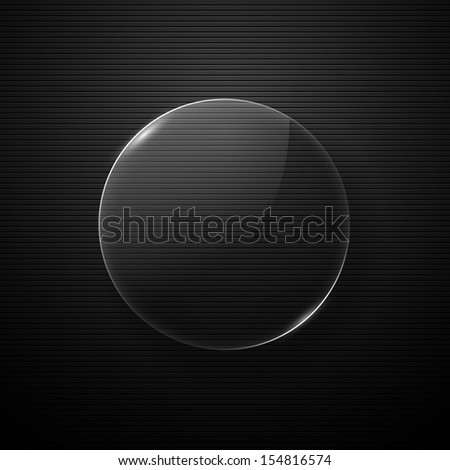 Shiny glossy button on dark background. Vector illustration - stock vector