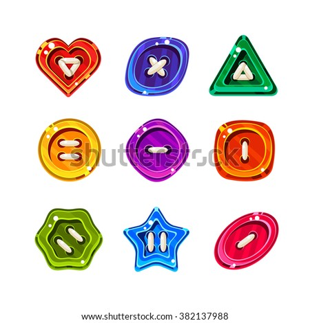 Shiny Glossy Colorful Buttons, Vector Collection set