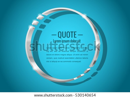 Shiny glossy of metal 3d banner. Round shape, for messages or quotes. Vector illustration