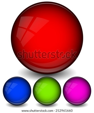Shiny, glossy Spheres, circles, orbs with highlight effects.  - stock vector