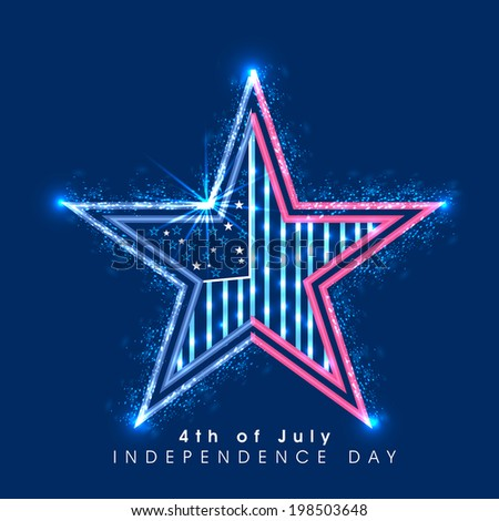 Shiny glossy star on blue background for 4th of July, American Independence Day celebrations.   - stock vector