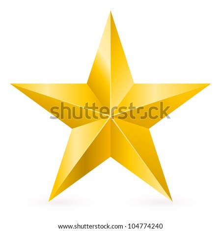 Shiny Gold Star. Form of first. Illustration for design on white background - stock vector