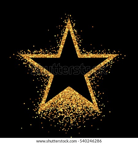 Shiny Gold Star On Black Background Immagine Vettoriale ... - photo #15
