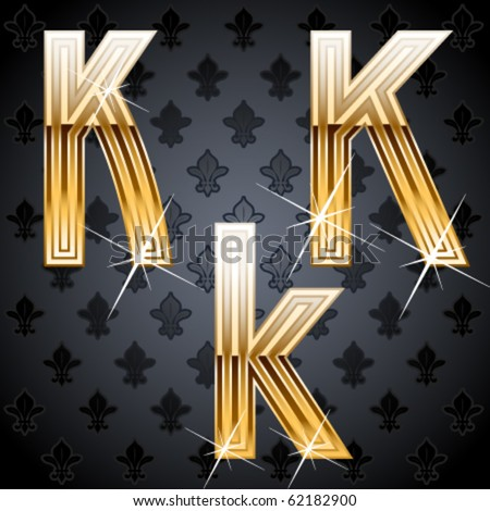 Shiny golden alphabet on a chic victorian background. Character k - stock vector
