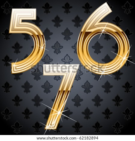 Shiny golden alphabet on a chic victorian background. Characters 5 6 7 - stock vector