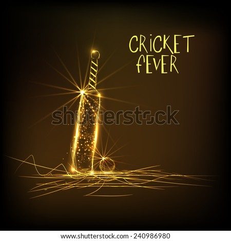 Shiny golden bat with ball on brown background for Cricket Fever. - stock vector