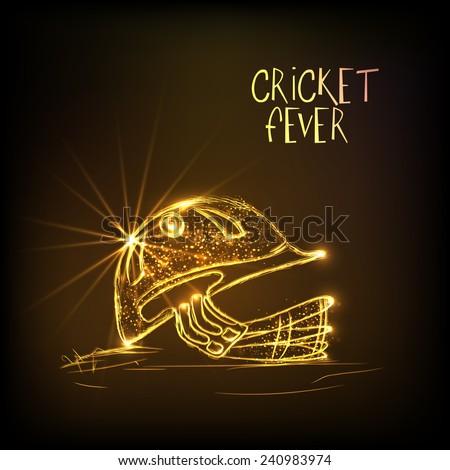 Shiny golden helmet of batsman for Cricket Fever on brown background. - stock vector