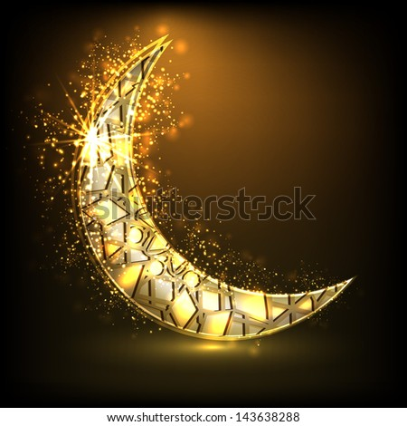 Shiny golden moon on brown background for Muslim community festival Eid Mubarak. - stock vector