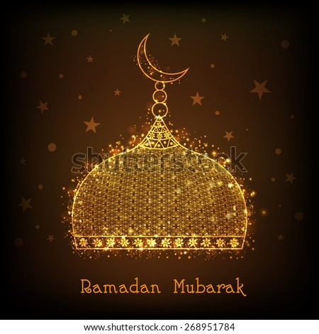 Shiny golden mosque on brown background for Islamic holy month of prayers, Ramadan Mubarak celebrations.  - stock vector