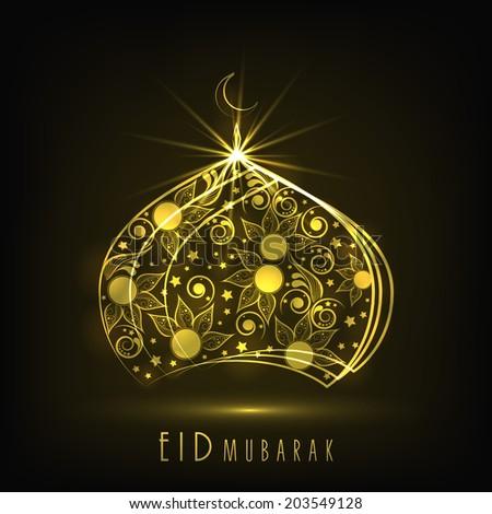 Shiny golden mosque on grey background for Muslim community festival Eid Mubarak celebrations.  - stock vector