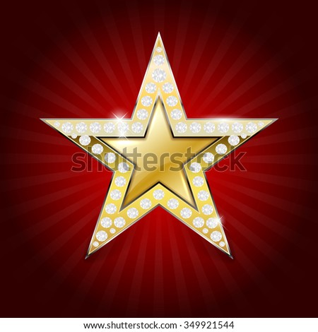 Shiny golden star with diamonds on red background - vector illustration - stock vector