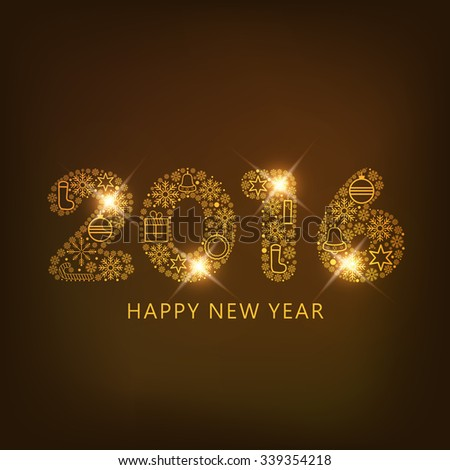 Shiny golden text 2016 on shiny golden background for Happy New Year 2016 celebrations.