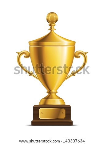 Shiny golden trophy cup isolated on white with a shadow. - stock vector