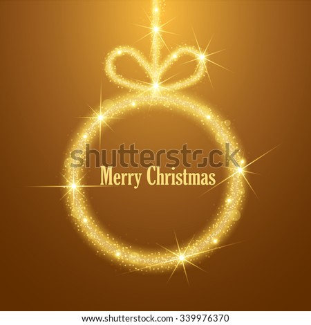 Shiny golden X-mas ball for Merry Christmas celebrations on brown background. Sparkles drawing. Vector illustration - stock vector