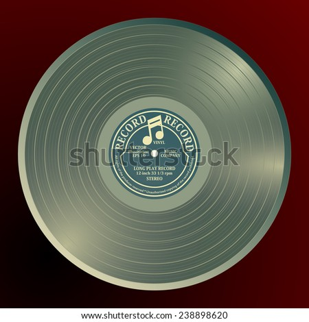 Shiny gramophone vinyl LP record with blue label. Bronze musical long play album disc 33 rpm. old technology, realistic retro design, vector art image illustration, isolated on red background eps10 - stock vector