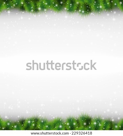Shiny green pine branches like frame in snowfall on grayscale background - stock vector