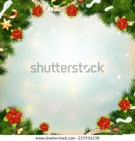 Shiny green pine branches like frame with flower of poinsettia. EPS 10 vector file included - stock vector
