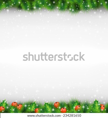 Shiny green pine branches like frame with holly sprigs in snowfall on grayscale background - stock vector