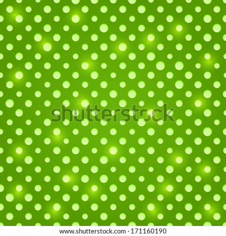 Shiny Green Seamless Polka Dot Background Pattern - stock vector