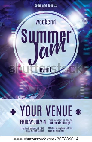 Shiny grunge summer jam flyer template design - stock vector