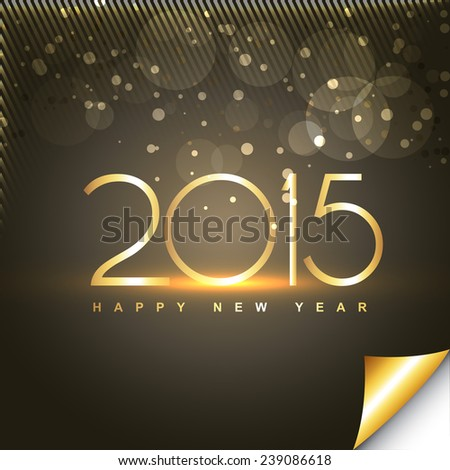 shiny happy new year text in gold style with transparent circles and lines at the top - stock vector