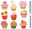 Shiny happy set of cupcakes. - stock vector