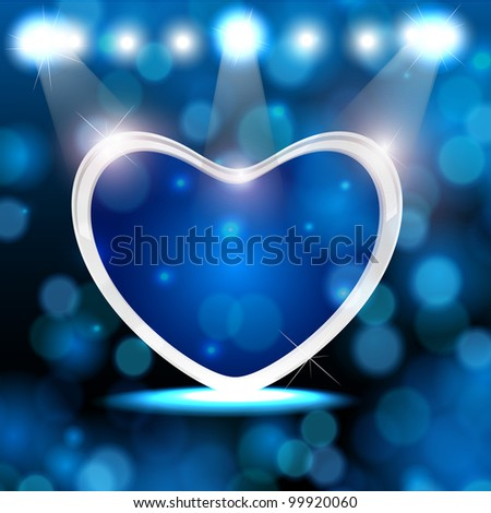 Shiny heart shape on abstract background in blue color. EPS 10, vector illustration. - stock vector