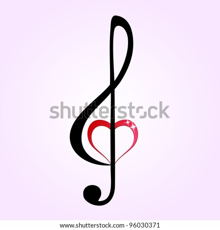 Shiny heart treble clef - stock vector