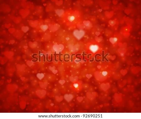 Shiny hearts bokeh light Valentine's day background eps 10 - stock vector