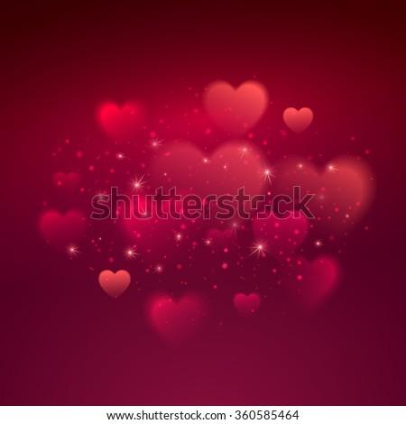 Shiny hearts bokeh Valentine day background. Vector illustration EPS10 - stock vector