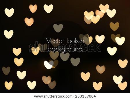 Shiny hearts light bokeh Valentine's day background - stock vector