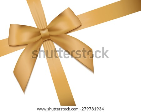 Shiny holiday gold satin ribbon on white background. Vector - stock vector