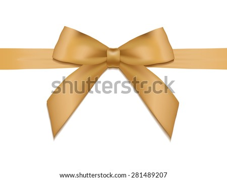 Shiny holiday gold satin ribbon on white background. Vector
