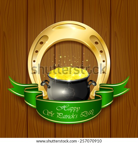 Shiny horseshoe and pot with leprechauns golden coins on wooden background, illustration. - stock vector