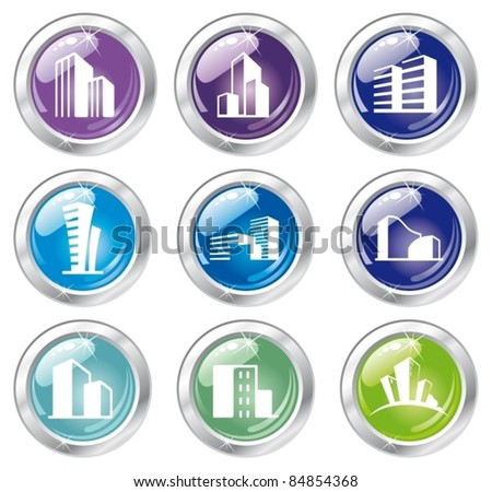 Shiny house icon collection - stock vector