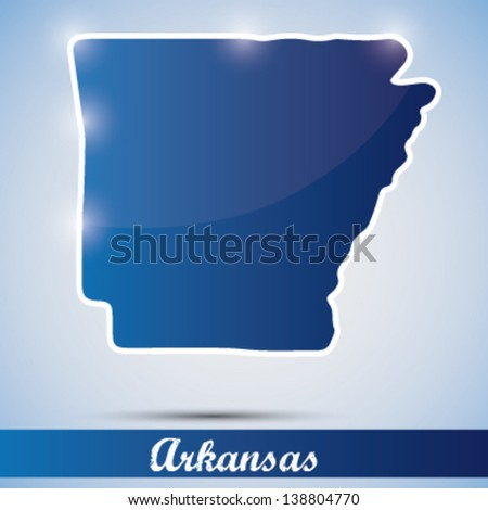 shiny icon in form of Arkansas state, USA - stock vector
