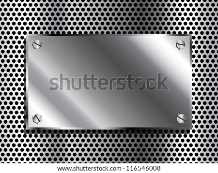 Shiny industrial looking metal plaque on grill background - stock vector