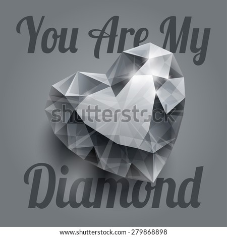 Shiny isolated diamond heart shape with realistic shadow on grey background. RGB EPS 10 T-shirt print vector illustration - stock vector