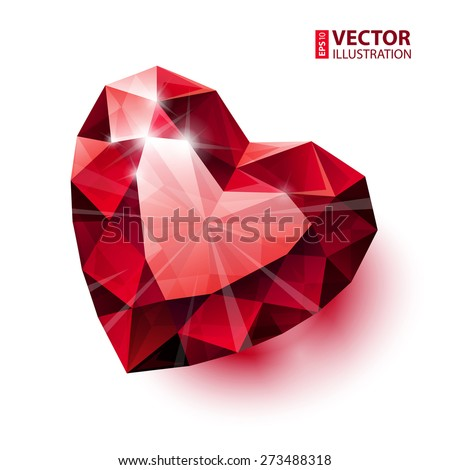 Shiny isolated red ruby heart shape with shadow on white background. RGB EPS 10 vector illustration - stock vector