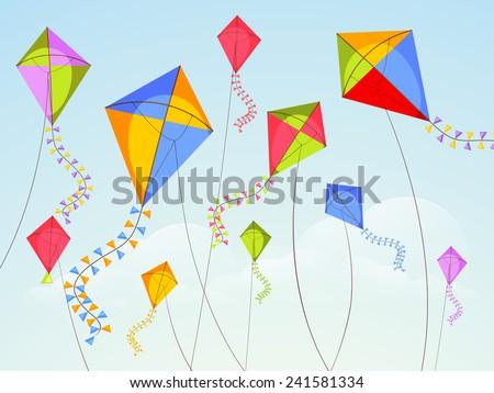 Shiny kites flying on occasion of Happy Vasant Panchami celebration. - stock vector