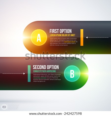 Shiny layout with two horizontal options. EPS10 - stock vector