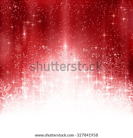 Shiny light effects with sparkling stars and glittering snowflakes forming a stylized Christmas tree on a red abstract backdrop. Great for the festive season of Christmas to come. - stock vector