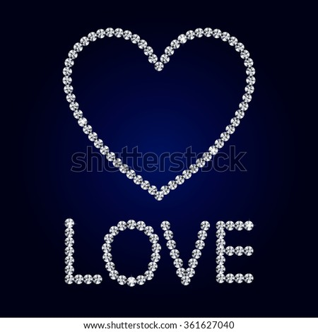 Shiny made with diamond heart on dark blue background. Shiny diamond heart. Diamond letters. Romantic Valentine's Day Card. Vector Illustration. - stock vector