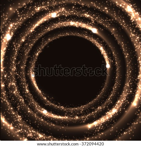 Shiny magic circle frame with glittering dust particles. Vector eps10. - stock vector